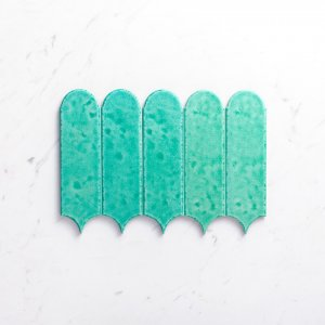 Handmade Feather 85X300 Glossy Ocean Green