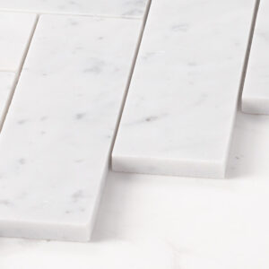 Natural Marble Mosaic Herringbone 50X165 Carrara Honed