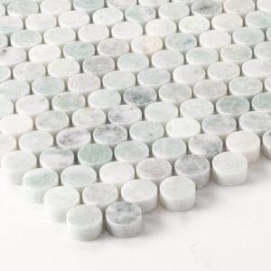 Natural Marble Mosaic Pennyround 20X20 Minggreen Honed