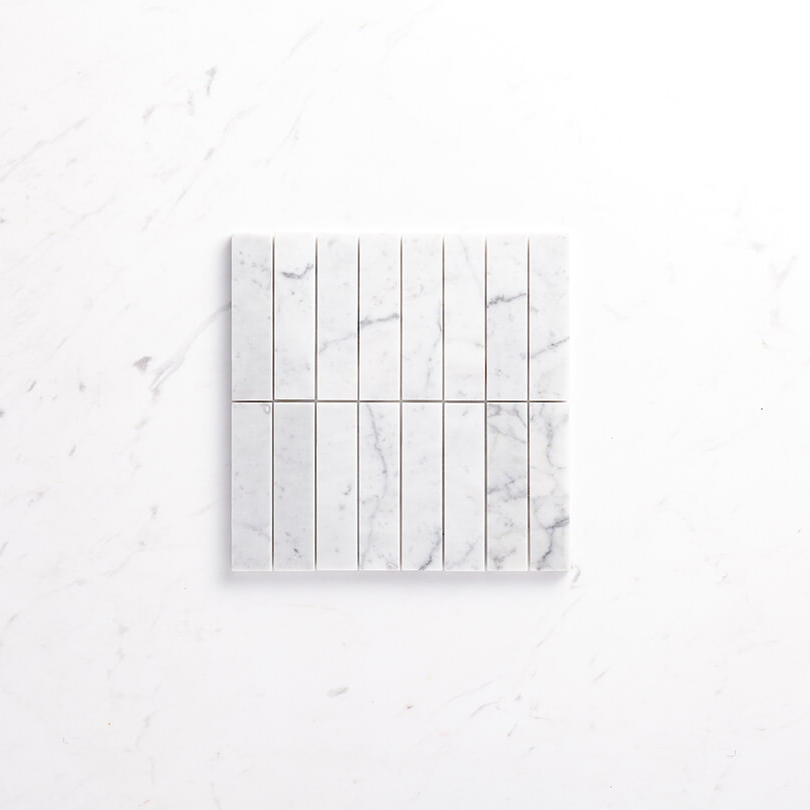 Natural Marble Mosaic Straight 36X150 Carrara Honed Sample