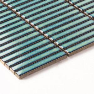 Antique Dark Green Porcelain Mosaic Kit Kat 12X92 Gloss