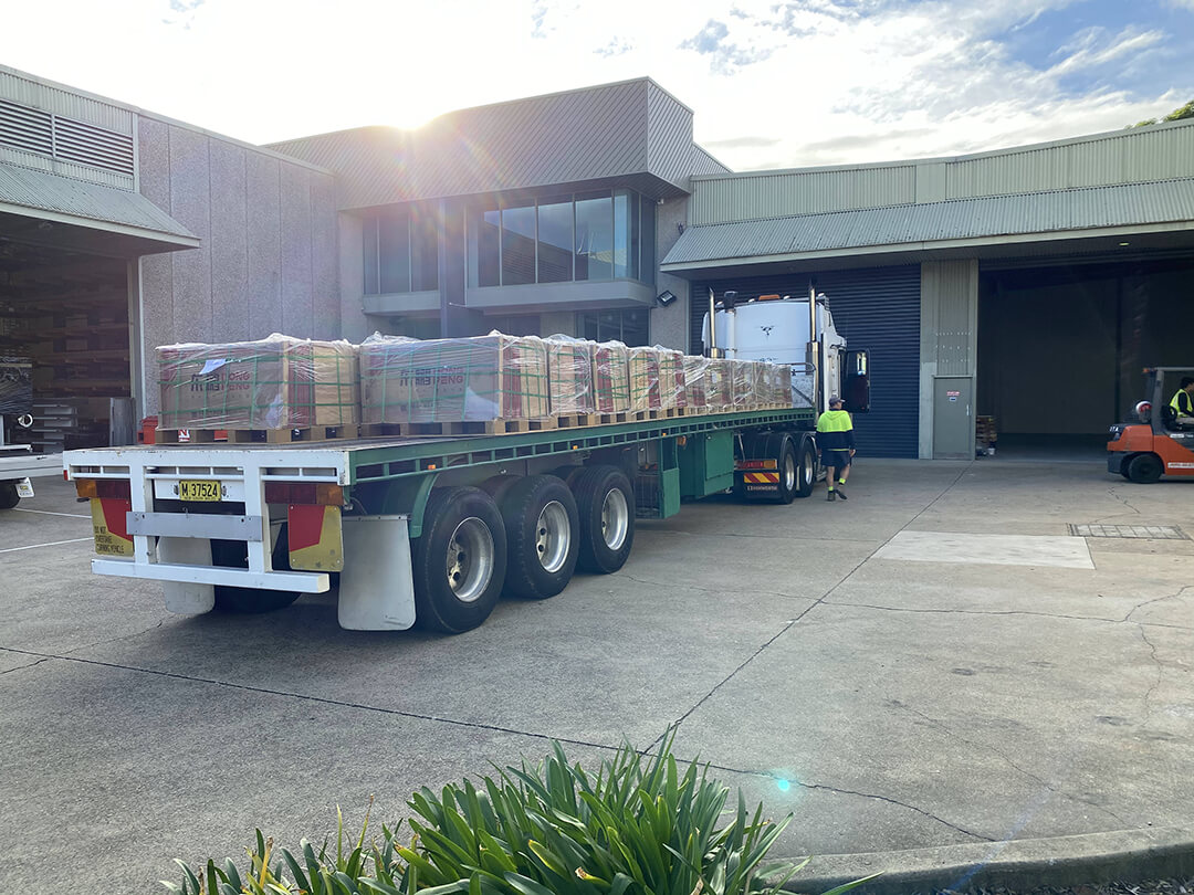 Pallets Of Tiles arrive at Warehouse