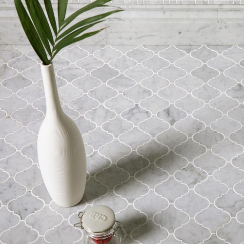 Natural Marble Mosaic Baroque 75X75 Carrara Honed
