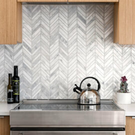 Natural Marble Mosaic Chevron 15X110 Carrara Honed