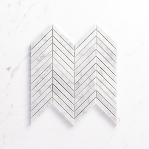 Natural Marble Mosaic Chevron 15X110 Carrara Honed