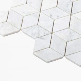 Natural Marble Mosaic Diamond Cube 45×78 Carrara Honed