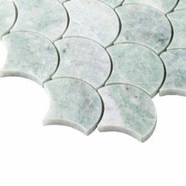 Natural Marble Mosaic FanShape 68×68 MingGreen Honed_top