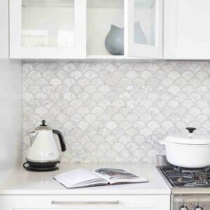 Natural Marble Mosaic Fanshape 75X75 Carrara Honed
