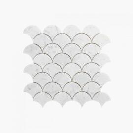 Natural Marble Mosaic Fanshape 75×75 Carrara Honed