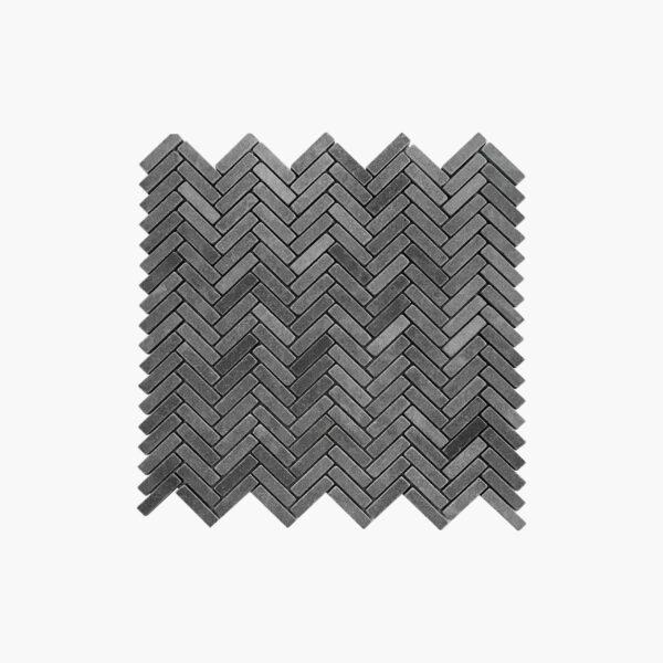 Natural Marble Mosaic Herringbone 10x40 Basalt Tumbled top