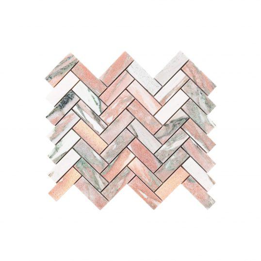 Natural Marble Mosaic Herringbone 25x75 Blush Honed