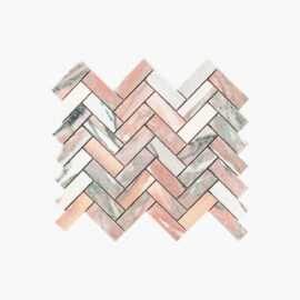 Natural Marble Mosaic Herringbone 25×75 Blush Honed