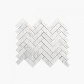 Natural Marble Mosaic Herringbone 25×75 Carrara Honed