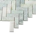 Natural Marble Mosaic Herringbone 25x75 MingGreen Honed
