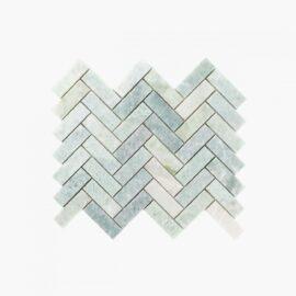 Natural Marble Mosaic Herringbone 25×75 MingGreen Honed