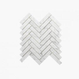 Natural Marble Mosaic Herringbone 25×98 Carrara Honed