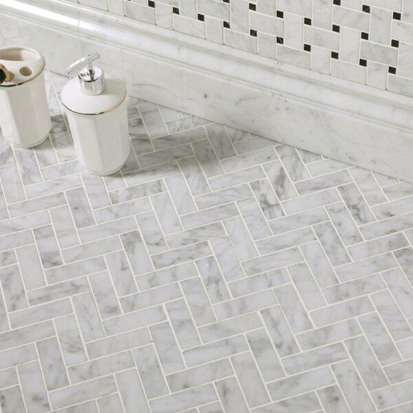 Natural Marble Mosaic Herringbone 25X75 Carrara Honed