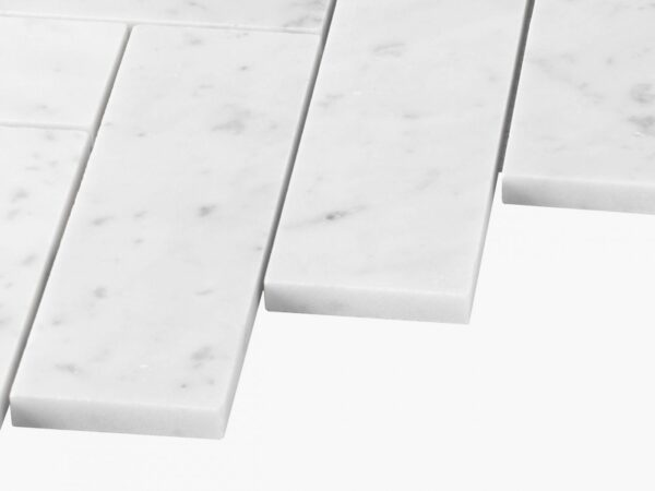 Natural Marble Mosaic Herringbone 50×165 Carrara Honed