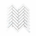 Natural Marble Mosaic Herringbone 25x98 Carrara Honed