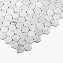 Natural Marble Mosaic Hexagon 25×25 Carrara Honed