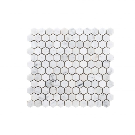 Natural Marble Mosaic Hexagon 25×25 Carrara Honed _top