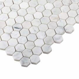 Natural Marble Mosaic Hexagon 25x25 Carrara Honed