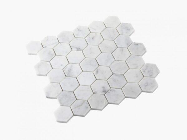 Natural Marble Mosaic Hexagon 48×48 Carrara Honed