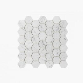 Natural Marble Mosaic Hexagon 48×55 Carrara Honed
