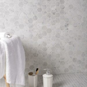Natural Marble Mosaic Hexagon 48X48 Carrara Honed