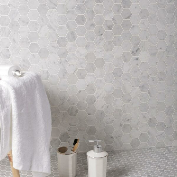 Natural Marble Mosaic Hexagon 48X48 Carrara Honed