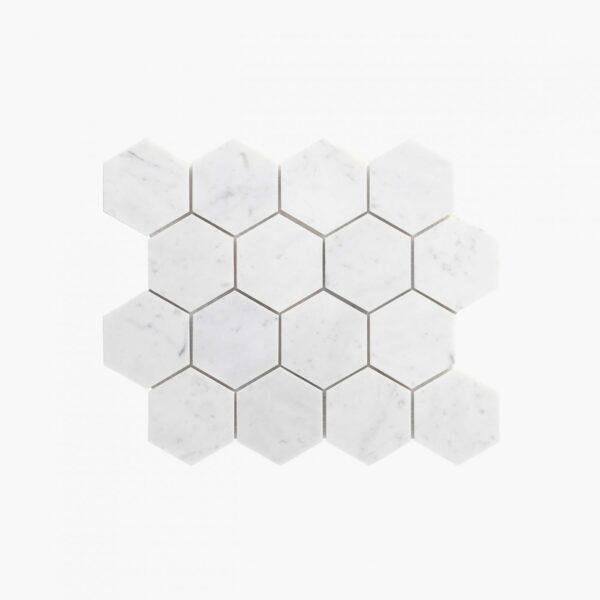 Natural Marble Mosaic Hexagon 75×75 Carrara Honed