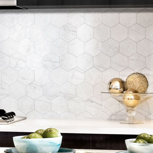 Natural Marble Mosaic Hexagon 75X75 Carrara Honed