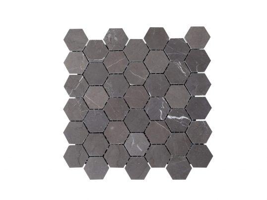Natural Marble Mosaic Hexagon 48x55 Pietra Grey Honed
