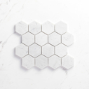 Natural Marble Mosaic Hexagon75x75CAHWH_Top View