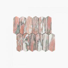 Natural Marble Mosaic LongHexagon 48×145 Blush Honed_edge
