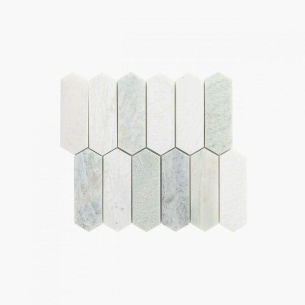 Natural Marble Mosaic Longhexagon 48×145 Minggreen Honed