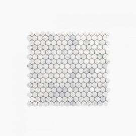 Natural Marble Mosaic Penny Round 20×20 Carrara Honed