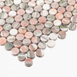 Natural Marble Mosaic PennyRound 23×23 Blush Honed