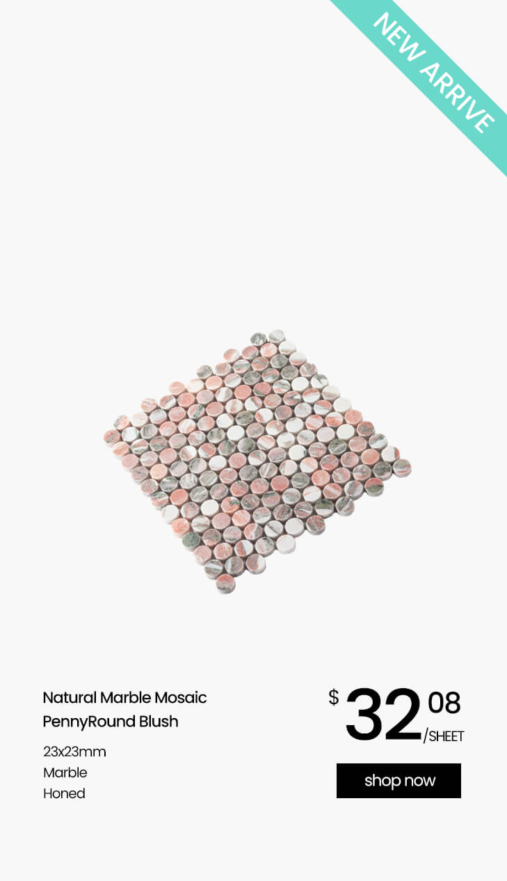 Natural Marble Mosaic PennyRound 23×23 Blush Honed_new