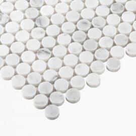 Natural Marble Mosaic PennyRound 23×23 Carrara Honed
