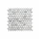 Natural Marble Mosaic PennyRound 23x23 Carrara Honed