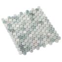 Natural Marble Mosaic PennyRound 23×23 MingGreen Honed