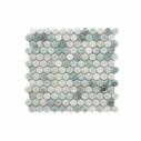 Natural Marble Mosaic PennyRound 23×23 MingGreen Honed_top