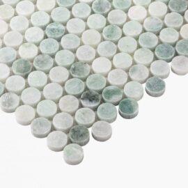 Natural Marble Mosaic PennyRound 23×23 MinggGreen Honed_