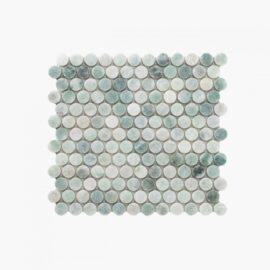 Natural Marble Mosaic PennyRound 23×23 MinggGreen Honed