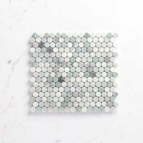 Natural Marble Mosaic Pennyround 20X20 Minggreen Honed