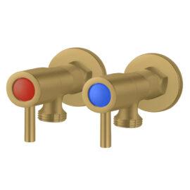 Pentro G 3/4 Wahsing Machine Taps Set Brushed Yellow Gold