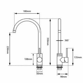 Pentro Kitchen Mixer-M Brushed Nickel_size