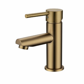 Pentro Round Basin Mixer Tap Brushed Yellow Gold