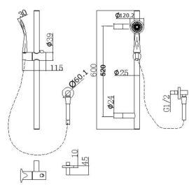 Pentro Round Handheld Shower Rail Set-M Brushed_size